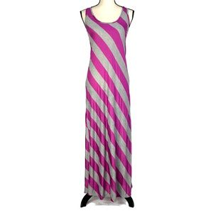 Espresso Fuchsia & Gray Striped Maxi Dress
